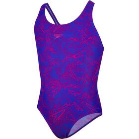 speedo Boom Allover Splashback Badpak Kinderen roze/violet